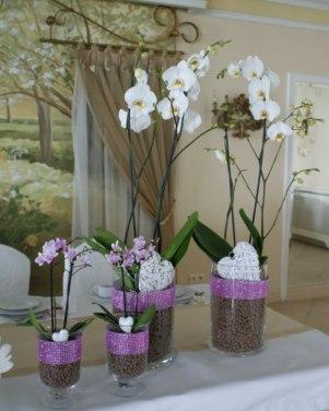 Pałac na Opieszynie - różowo białe kompozycje